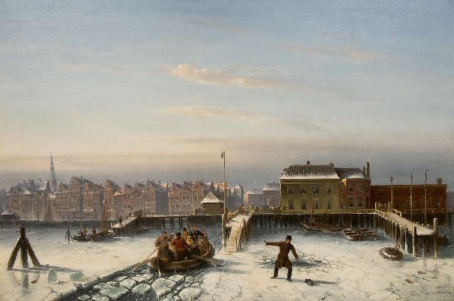Leickert C.H.J.  | The IJ in winter, Amsterdam, oil on canvas 102.0 x 150.0 cm, signed l.r. and dated '70