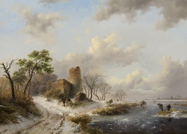 Frederik Marinus Kruseman | A winter landscape with figures gathering wood by a ruin, oil on panel, 58.5 x 79.2 cm, signed l.l. and dated 1845