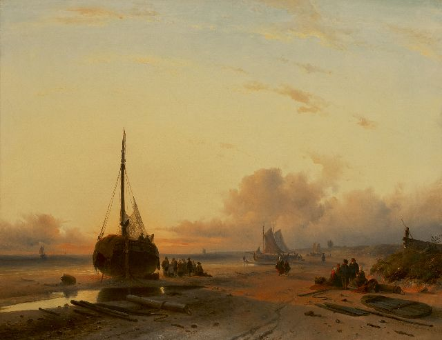 Leickert C.H.J.  | Fishing vessels on a beach at sunset, oil on canvas 58.0 x 75.0 cm, signed l.r. and dated 'London' 1845
