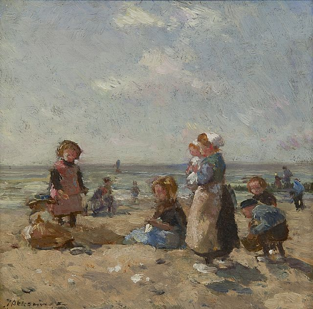 Johannes Evert Hendrik Akkeringa | Children playing on the beach at Scheveningen, oil on panel, 16.3 x 16.8 cm, signed l.l.