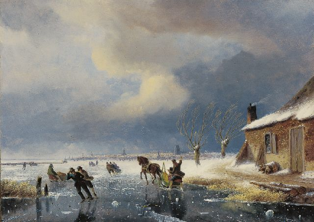 Nicolaas Johannes Roosenboom | Skaters on a frozen river at the outskirts of a town, oil on panel, 36.1 x 50.0 cm, signed l.r.