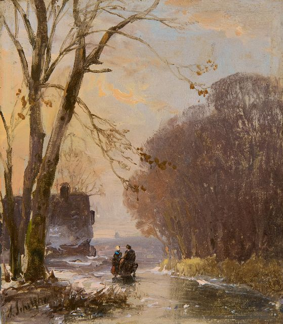 Andreas Schelfhout | Land folk on a frozen waterway, oil on panel, 10.6 x 9.3 cm, signed l.l.