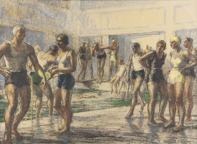Piryns D.  | At the swimming pool, chalk on paper 51.0 x 73.0 cm, signed l.r. and jaren '30