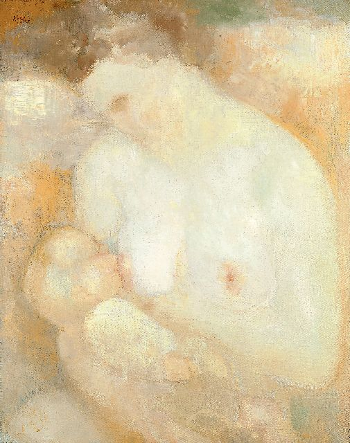 Kelder A.B.  | Mother, feeding her baby, oil on canvas 68.5 x 54.2 cm, signed u.l.