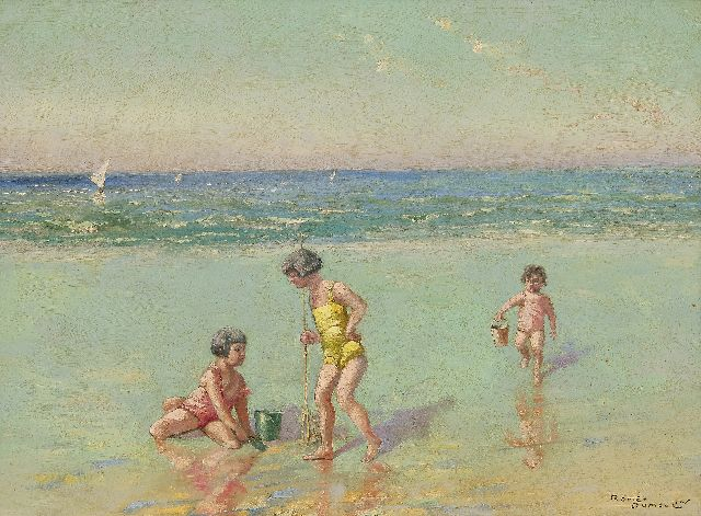 Dumoulin R.  | Children at the beach, oil on painter's board 30.7 x 40.9 cm, signed l.r.