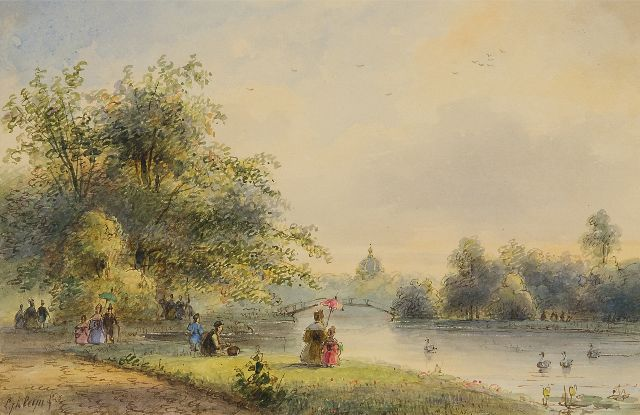 Lodewijk Johannes Kleijn | Figures near the pond of Huis ten Bosch in The Hague, watercolour on paper, 14.0 x 21.5 cm, signed l.l. and on the reverse
