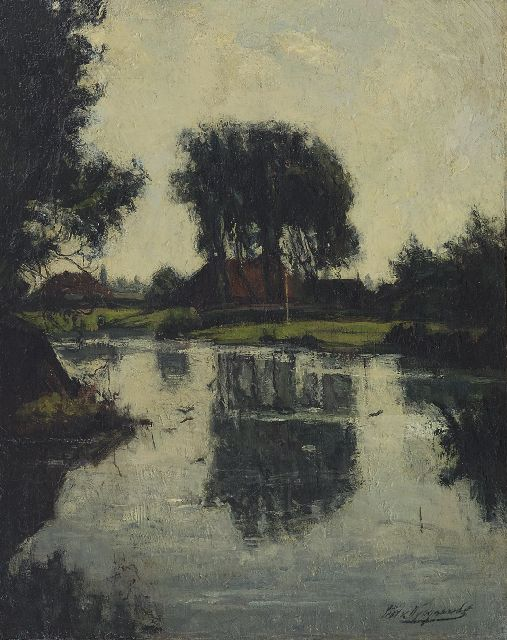 Piet van Wijngaerdt | A farm under trees along the water, oil on canvas, 35.0 x 28.0 cm, signed l.r. and painted ca. 1908-1909