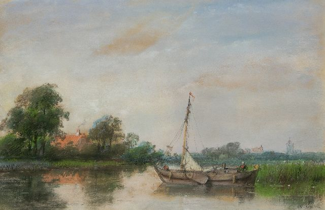 Andreas Schelfhout | Moored sailing ship in a landscape, pencil and pastel on paper, 24.3 x 37.5 cm, signed l.r. with initials