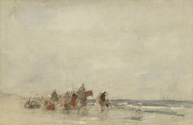 Maris J.H.  | Fisher women on the beach, chalk and watercolour on paper 21.0 x 28.7 cm