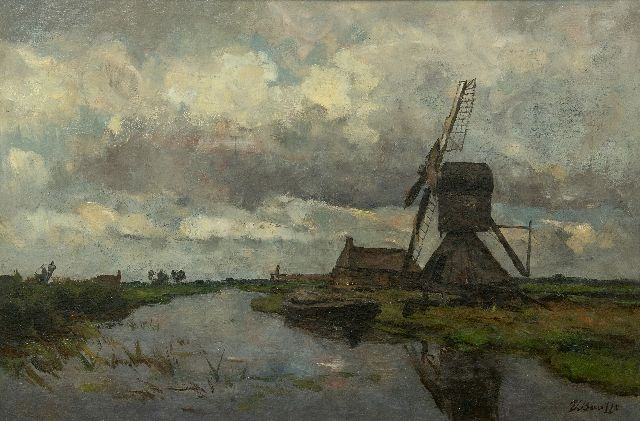 Victor Bauffe | Windmill on a canal, oil on canvas, 41.8 x 61.9 cm, signed l.r.