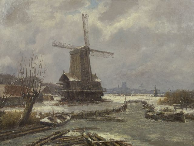 Gerard Koekkoek | Winter landscape with a sawmill, oil on canvas, 60.3 x 80.0 cm, signed l.l.