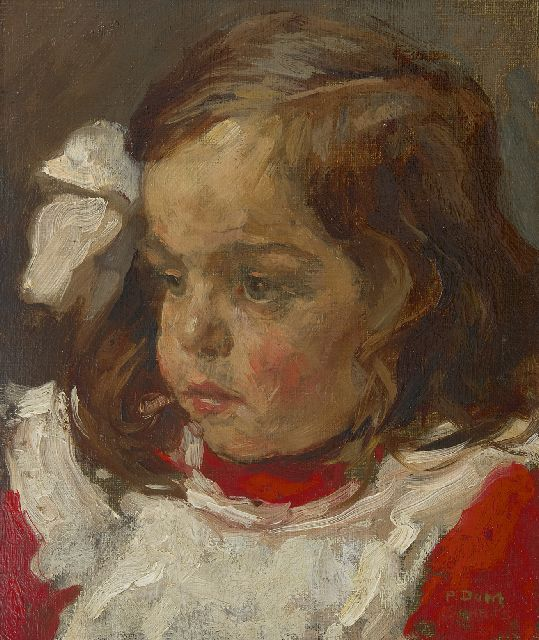 Pol Dom | Portrait of a youg girl, oil on painter's board, 29.9 x 24.8 cm, signed l.r.