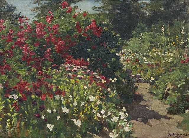 Anton L. Koster | In the garden, oil on canvas laid down on panel, 28.5 x 39.0 cm, signed l.r. and dated 1916