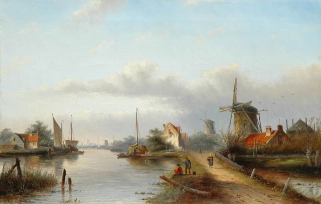 Jacob Jan Coenraad Spohler | Summer landscape in Holland, oil on canvas, 42.8 x 66.4 cm, signed l.l.