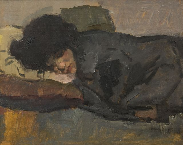 Israels I.L.  | Sleeping woman, oil on panel, 32.5 x 41.0 cm, signed r.b.