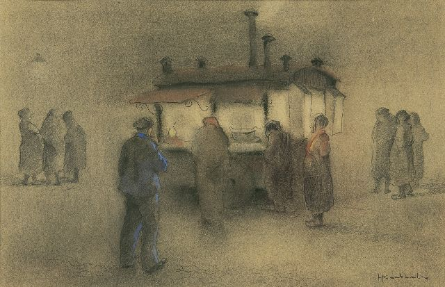 Jan Korthals | Buying french fries, pencil and chalk on paper, 29.3 x 39.5 cm, signed l.r.