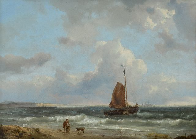 Koekkoek H.  | A fishing boat setting sail, oil on canvas 34.7 x 48.3 cm, signed l.l. and dated 1849