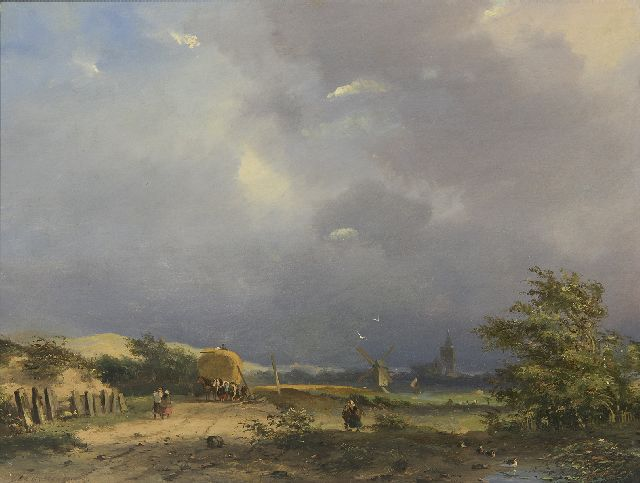 Adrianus David Hilleveld | A landscape with farmers and a harvester, oil on panel, 24.6 x 32.0 cm, signed l.l.