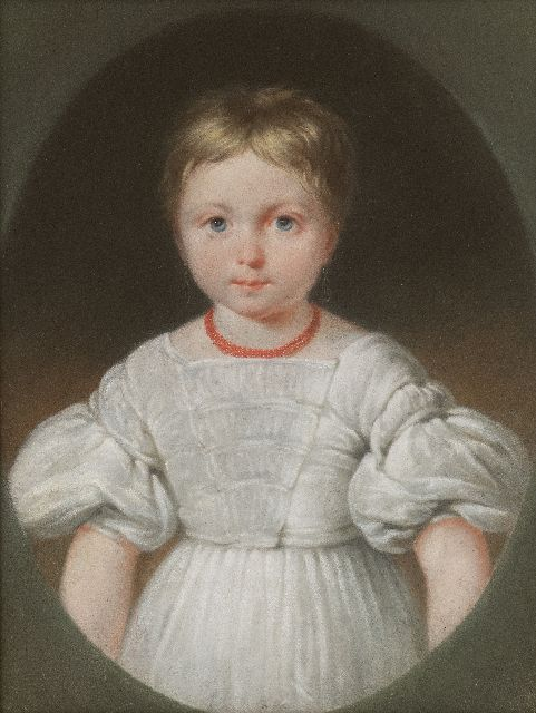 Jean Augustin Daiwaille | Portrait of a girl in a white dress, presumably  Henriette Louise Engelman (1 from 4 portraits), pastel on paper, 31.5 x 24.3 cm