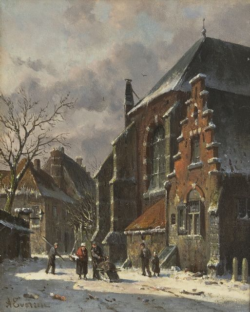 Adrianus Eversen | A town in winter with figures, oil on panel, 25.0 x 19.5 cm, signed l.l.