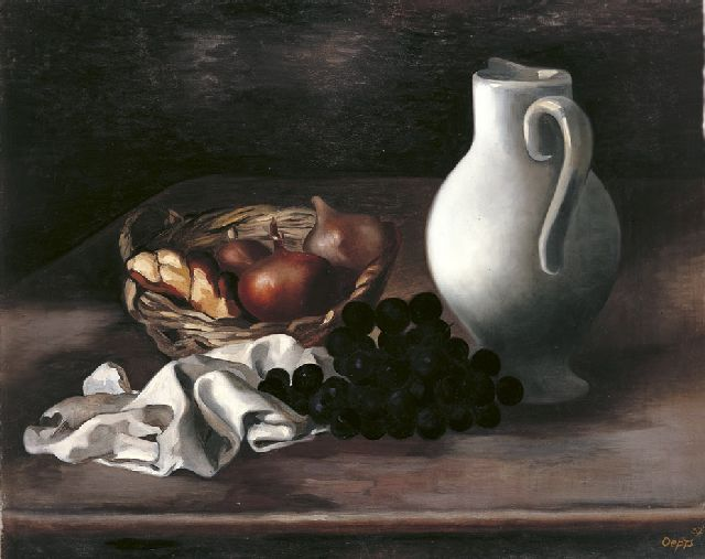 Oepts W.A.  | A still life with onions in a basket and a white jug, oil on canvas 50.8 x 61.7 cm, signed l.r. and dated '32