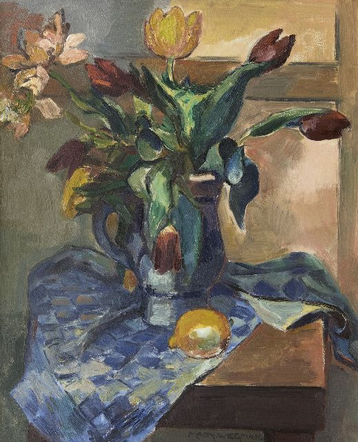 Matthieu Wiegman | A still life with tulips and a lemon, oil on canvas, 61.4 x 50.1 cm, signed l.c.