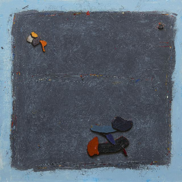 Morgan C.  | Black board, mixed media and collage on paper 99.0 x 99.0 cm, signed l.r. and dated '87