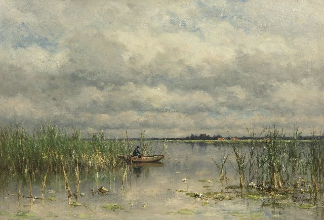 Roelofs W.  | Angler on a lake near Noorden, oil on canvas 68.3 x 100.2 cm, signed l.l. and painted ca. 1880-1888