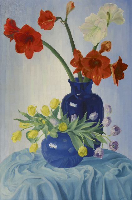 Dirk Smorenberg | Amaryllis flowers and tulips, oil on canvas, 121.4 x 81.2 cm, signed l.r.