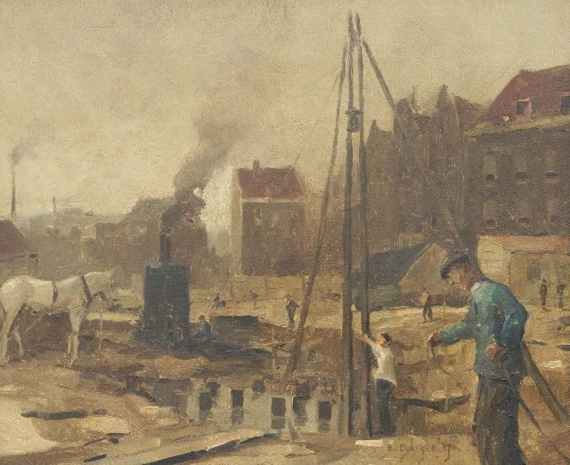 Evert Jan Ligtelijn | Construction site in Amsterdam, oil on panel, 39.8 x 47.9 cm, signed l.r.