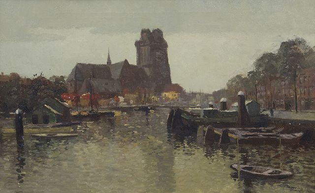 Chris Soer | The Nieuwe Haven and the Grote Kerk, Dordrecht, oil on canvas, 38.5 x 60.5 cm, signed l.r.