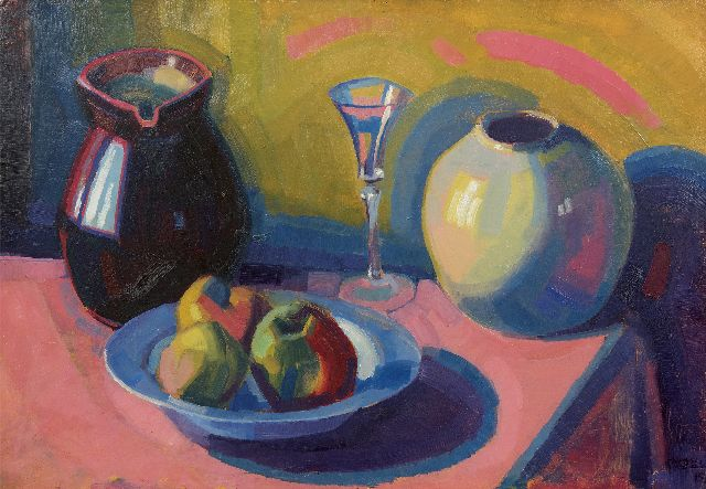Roeland Koning | Still life with a plate with apples, oil on board, 49.6 x 71.0 cm, signed l.r. partly and dated '19