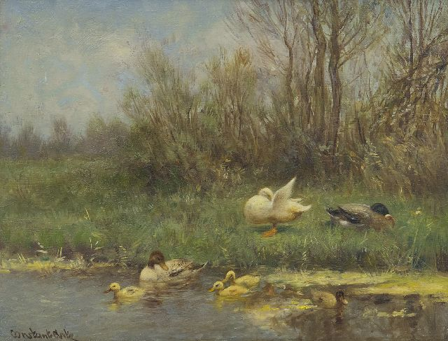 Artz C.D.L.  | Ducks and ducklings on a river bank, oil on panel 18.1 x 23.9 cm, signed l.l.