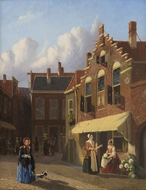 Joseph Bles | A Dutch street with greengrocer's stall, oil on panel, 25.3 x 20.0 cm, signed l.r.