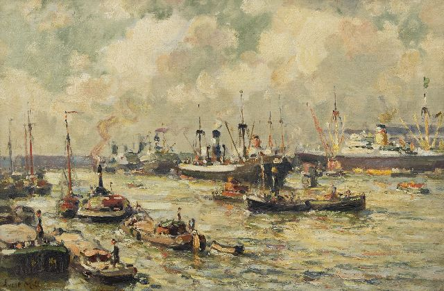 Evert Moll | Activity in the Rotterdam harbour, oil on canvas, 40.1 x 60.5 cm, signed l.l.
