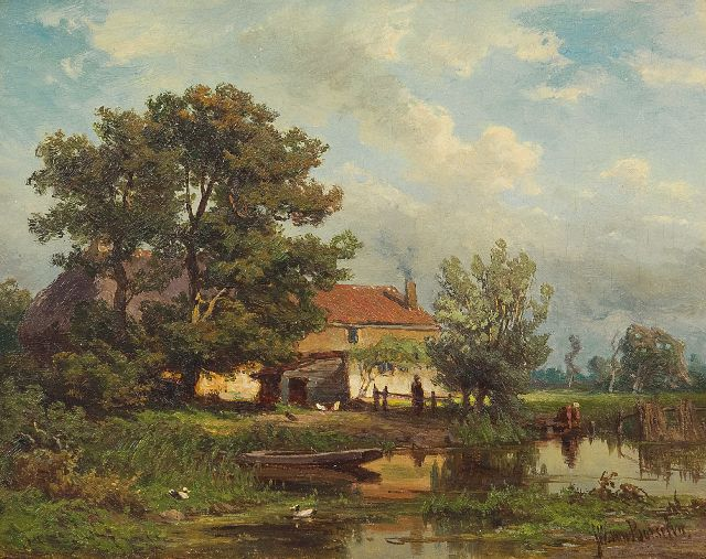 Borselen J.W. van | Farm by the water, oil on panel 14.8 x 18.9 cm, signed l.r.