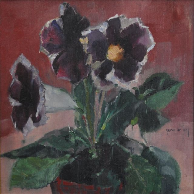 Germ de Jong | Gloksinia in bloom, oil on canvas, 30.5 x 30.2 cm, signed c.r.
