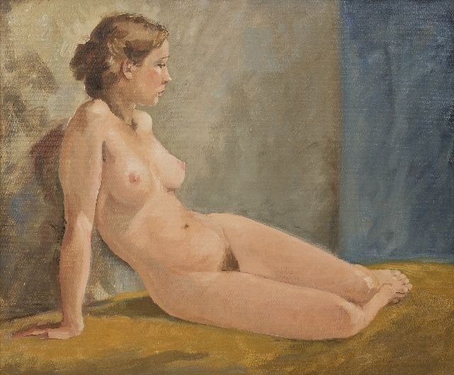Flip Hamers | Seated nude, oil on canvas, 50.2 x 60.0 cm, signed l.r.