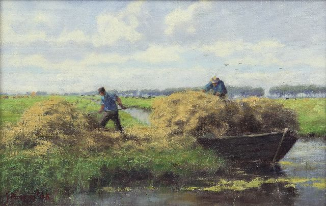 Jan Holtrup | Harvest time near Akkrum, oil on canvas laid down on panel, 18.5 x 28.6 cm, signed l.l. signed 'J. Poepjes' and dated '45