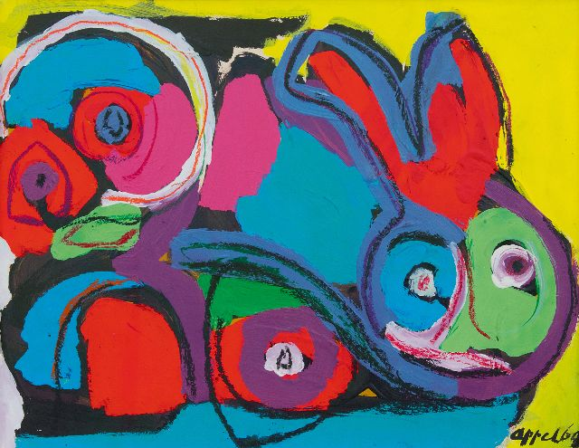 Appel C.K.  | Rabbit, chalk and acrylic on paper 50.1 x 64.9 cm, signed l.r. and dated '69