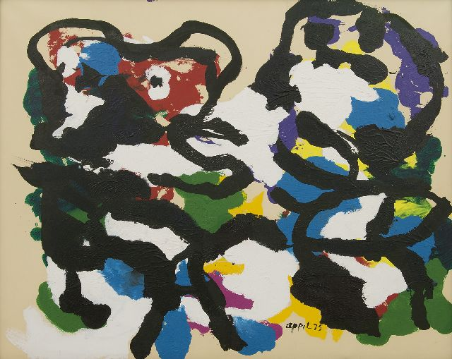 Appel C.K.  | Two figures, acrylic on paper on canvas 68.2 x 83.2 cm, signed l.r. and dated '75