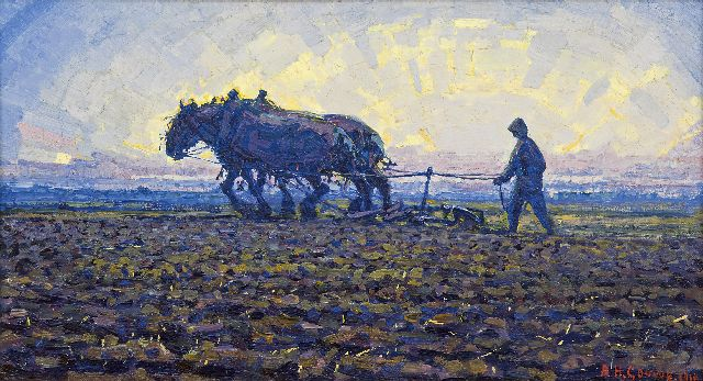 Adriaan Herman Gouwe | At sunset, South Limburg, oil on canvas, 25.0 x 45.6 cm, signed l.r. and dated 1916