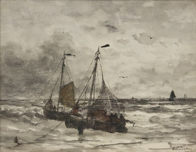 Hendrik Willem Mesdag | Fishing boats at anchor in the surf, watercolour on paper, 45.0 x 57.7 cm, signed l.r.