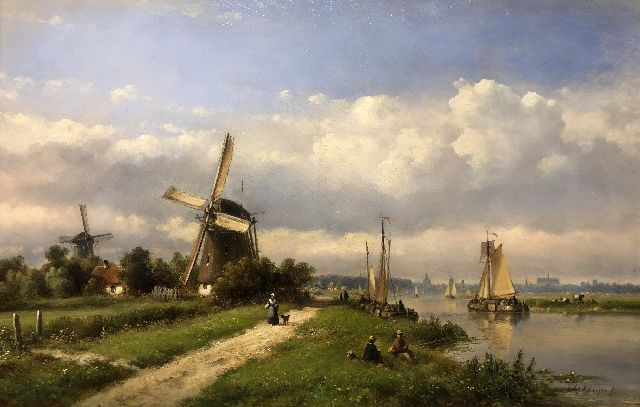 Lodewijk Johannes Kleijn | A Dutch river scene with sailing vessels, oil on panel, 33.5 x 52.2 cm, signed l.r.