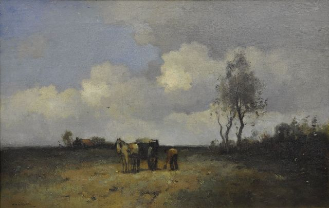 Aris Knikker | A landscape with a farmer digging sand, oil on canvas, 50.2 x 74.8 cm, signed l.l.