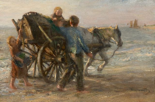 Blommers B.J.  | Shell fisher with his children on the beach, oil on canvas 28.3 x 42.0 cm, signed l.r.