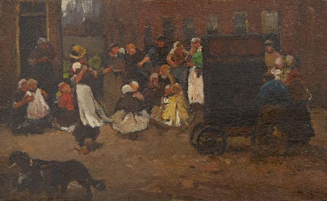 Zwart W.H.P.J. de | Children dancing to the street musician, oil on panel 22.2 x 35.6 cm, signed l.r. and painted ca. 1890