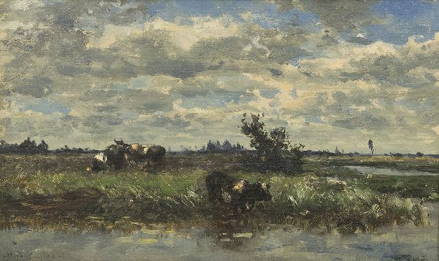 Roelofs W.  | Cows at the water's edge, Loosdrecht, oil on canvas 27.0 x 44.4 cm, signed l.r.