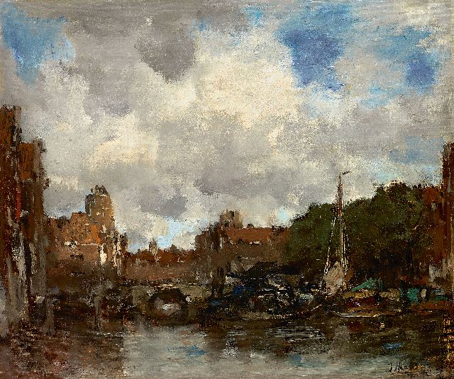Maris J.H.  | A Dutch harbour town (Dordrecht), oil on canvas 41.5 x 49.0 cm, signed l.r. and to be dated ca. 1890