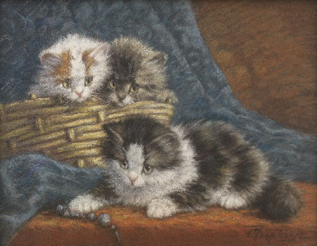 Cornelis Raaphorst | Three kittens playing with a string of beads, pastel on paper laid down on painter's board, 24.4 x 30.9 cm, signed l.r.